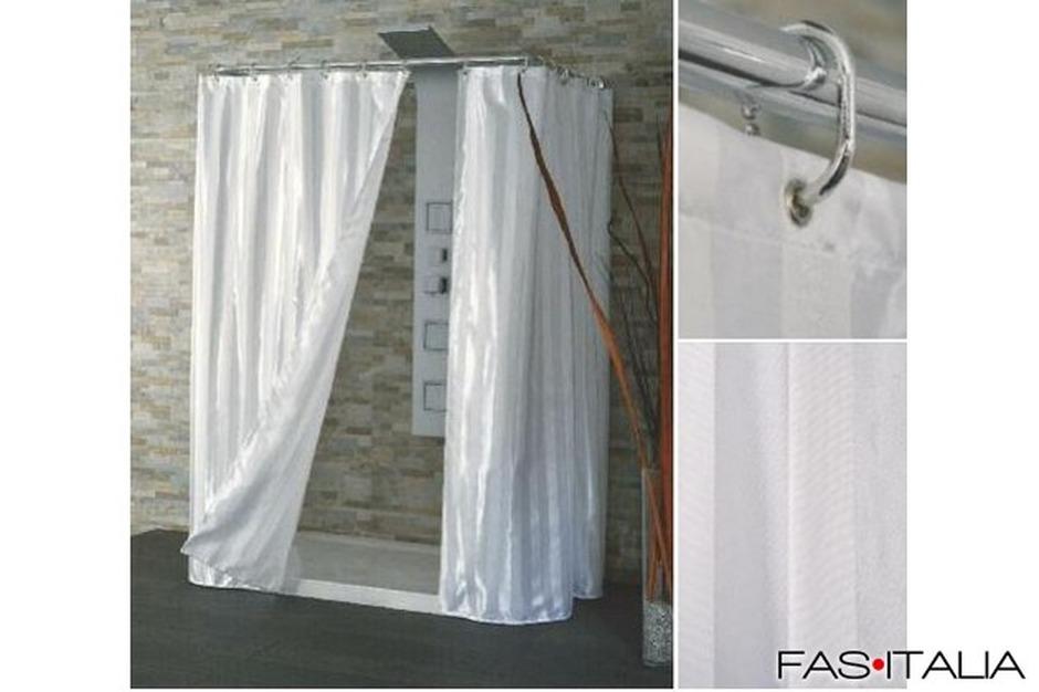 Tende Da Doccia In Lino : Tenda doccia in tessuto bianco raso cm